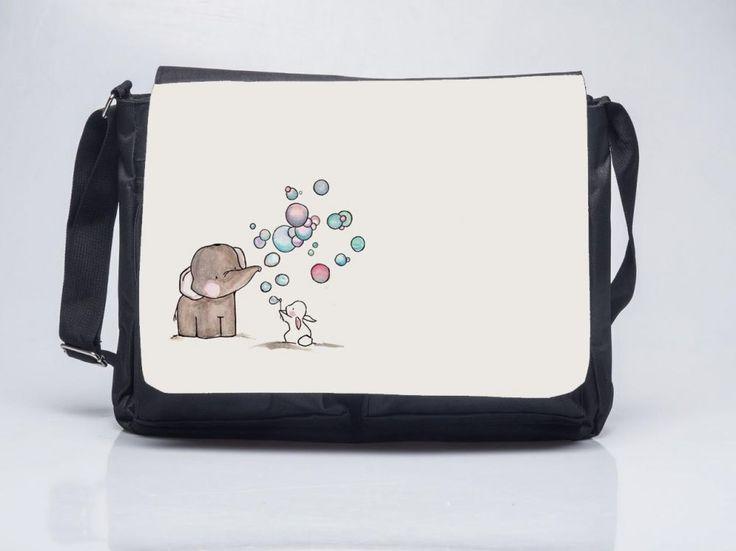 Elefánt és nyuszi lufival - Oldaltáska Elephant and Bunny Shoulder Bag. ORDER HERE: www.oldaltaska.hu hello@oldaltaska.hu