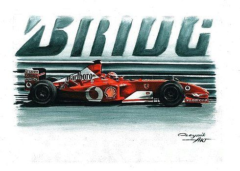 2002, Ferrari F2002,  Michael Schumacher,  Rubens Barrichello,  Ferrari F1 collection ART by Artem Oleynik. This collection demonstrating Ferrari F1 racing cars since 1950 to 2016 and includes 96 pictures in oil on canvas. The size of each original picture is 25 x 35 cm.
