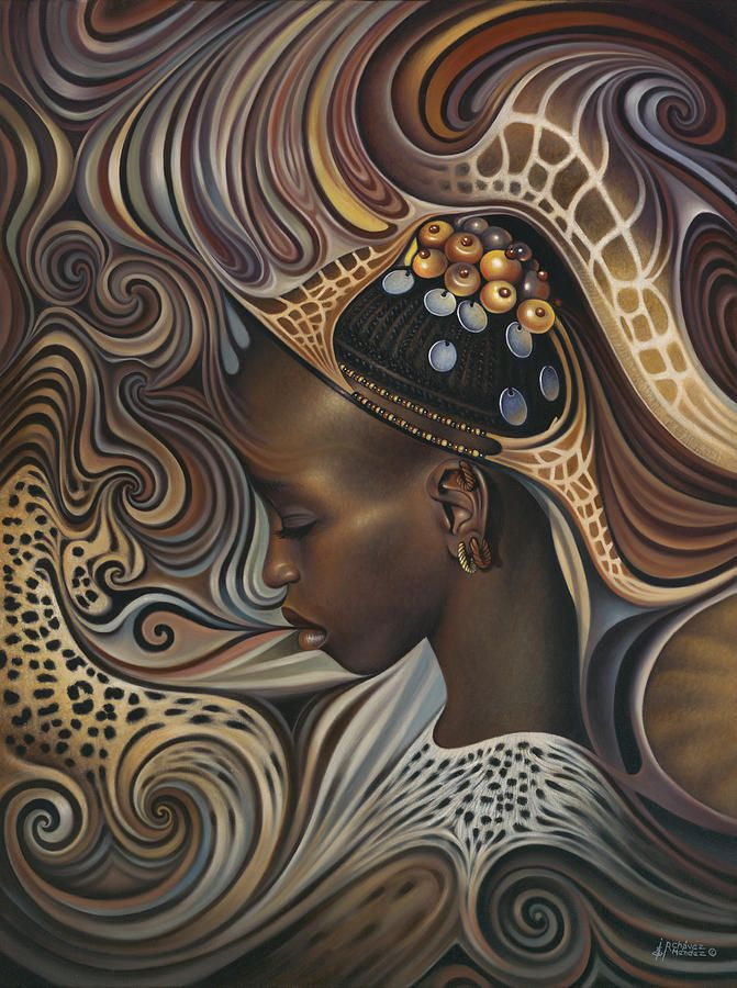 African Spirits II Painting by Ricardo Chavez-Mendez