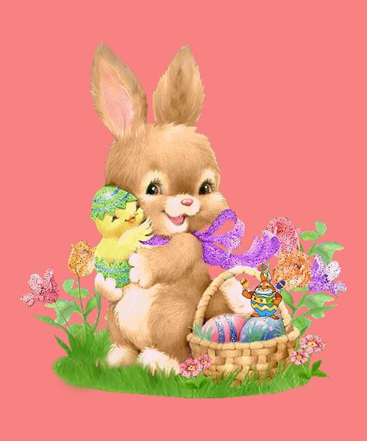 'Happy Easter Bunny Rabbit Eggs Flowers'  by Bennellaris