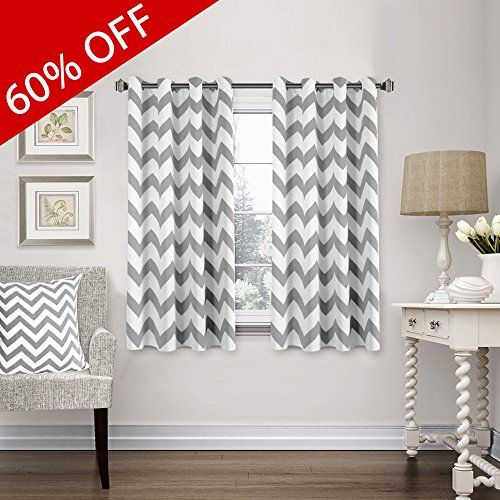 FlamingoP Blackout Energy Efficient Chevron Thermal Insulated Drapes Printed Window Curtains for Living Room, Grommet Top, 2 Panels, W52 x L63 -Inch, Dove Gray.