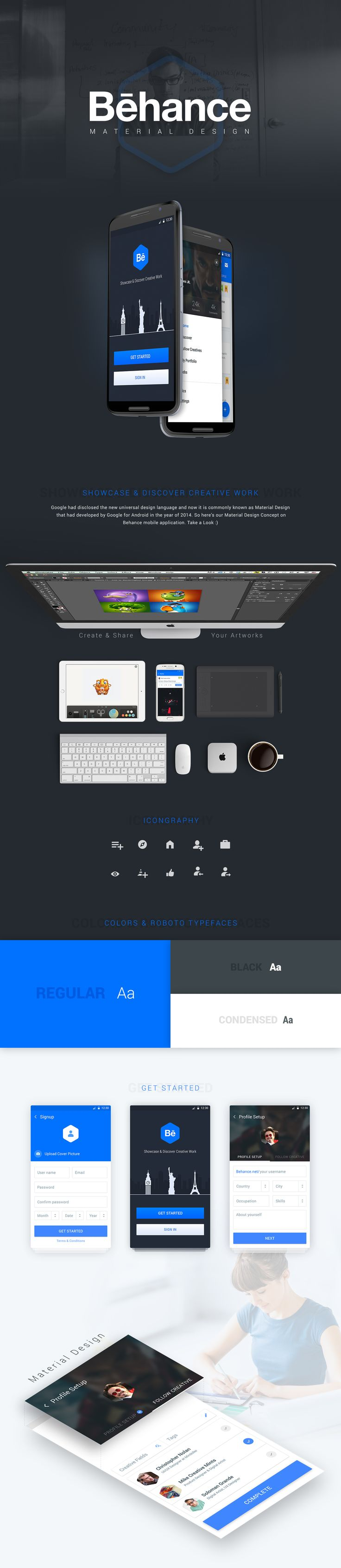 This is our concept work on Behance Material App Redesign.