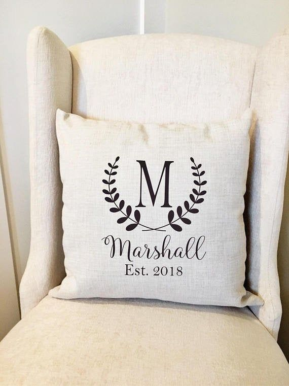 Monogram Pillow Cover Personalized Name Throw Pillow Cover Farmhouse Decor Farmhouse Pillow Covers Name Wedding Pillow Cover Gift Monogram Pillows Diy Pillow Covers Wedding Pillow Cover