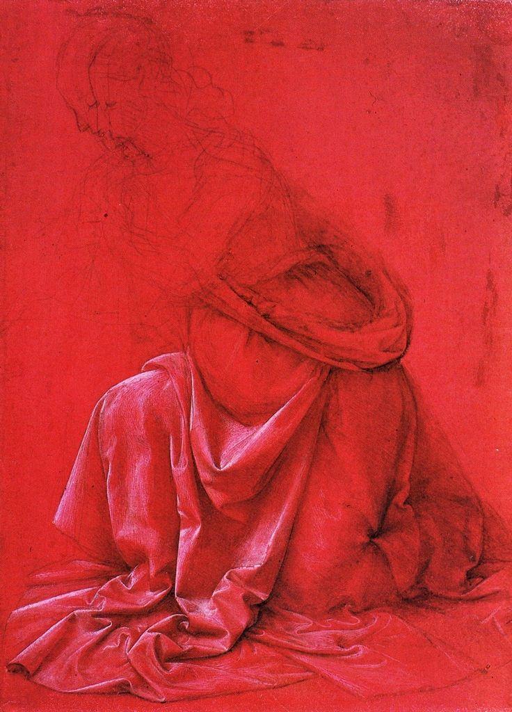 Leonardo da Vinci Studio di drappeggio, XV d.C.       punta metallica, bianco di piombo su carta rossa