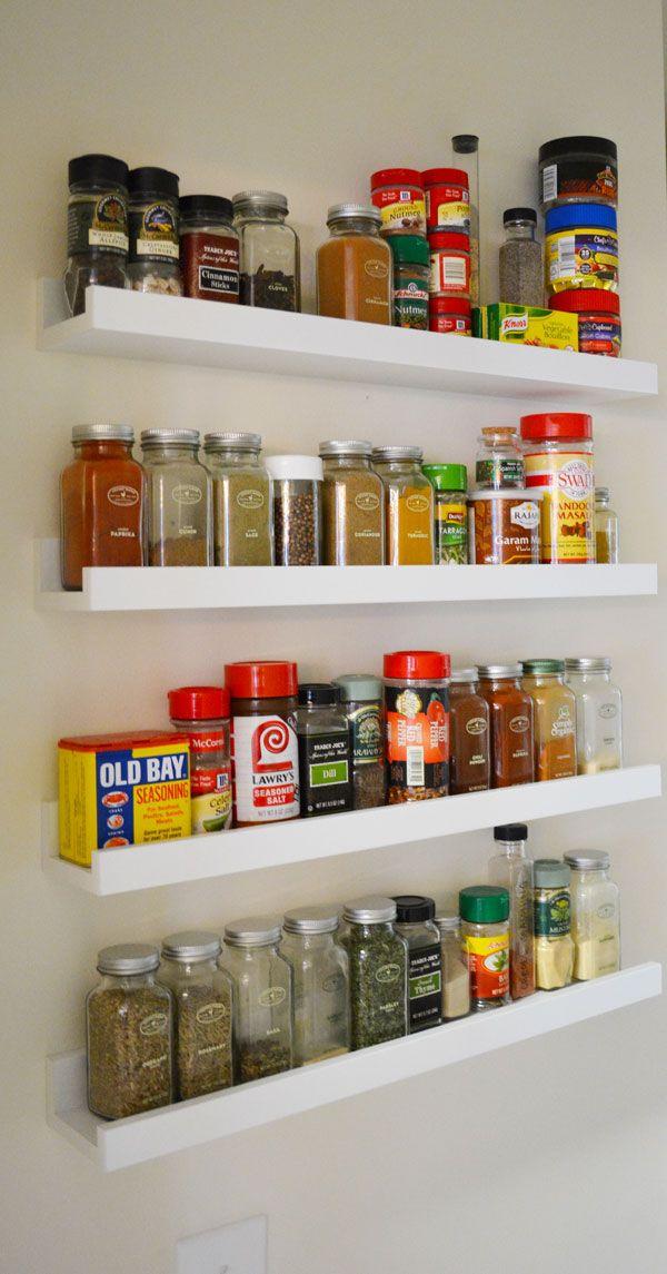 Ikea ledges make the perfect spice rack! #ikeahack