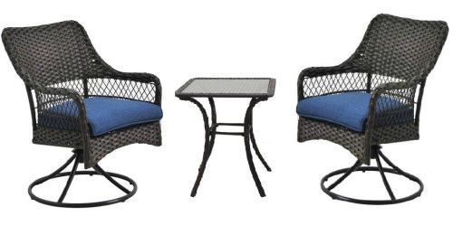 3Pc Outdoor Bistro Set Patio Swivel Chairs And Table Wicker Companion Furniture #BetterHomeGardens