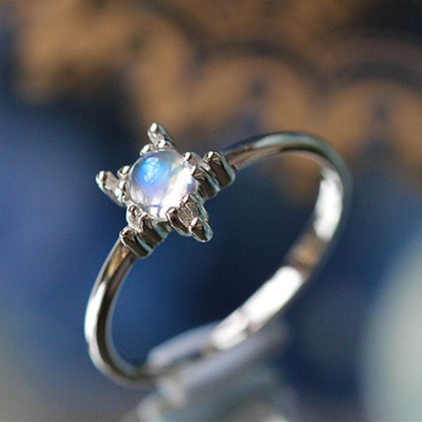 Simple Stunning Silver Star Blue Moonstone Promise Rings