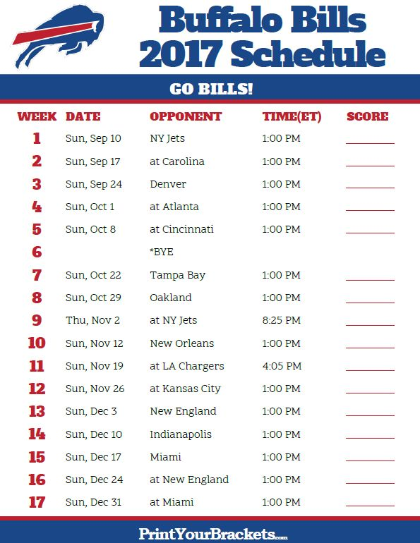2017 Buffalo Bills Football Schedule