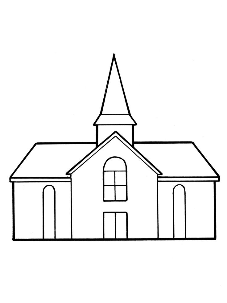A line drawing of a meetinghouse