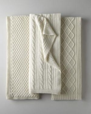 Sofia Cashmere Fishermans Cable Knit Cashmere Throw