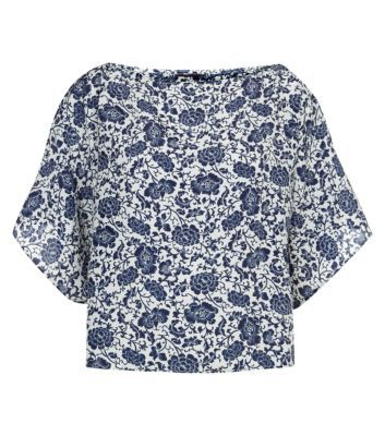 Rubee B Blue and White Floral Batwing Top