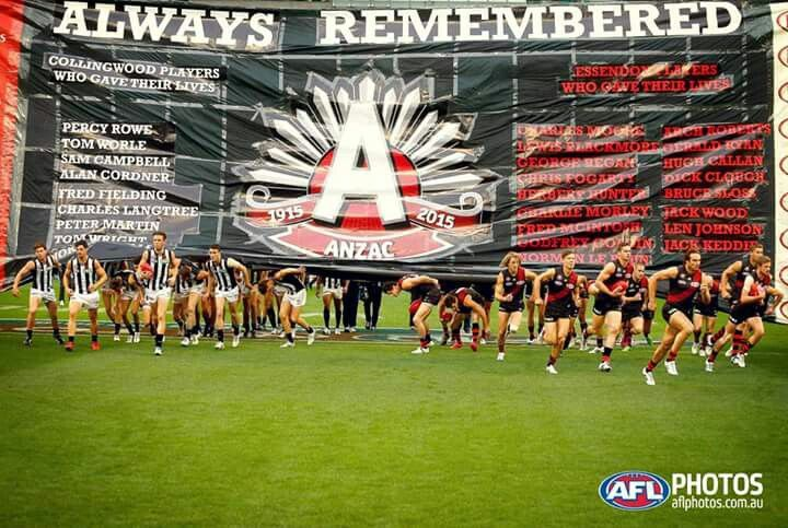 Collingwood and Essendon 100 years of Anzac 25-4-2015