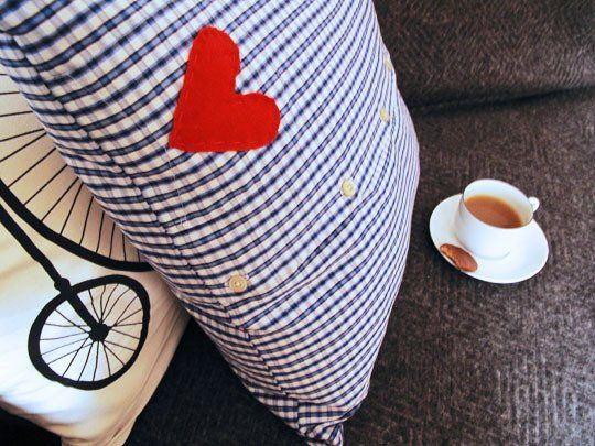 How to make a cushion cover from an old button-up shirt. I think pillows made this way would be darling!