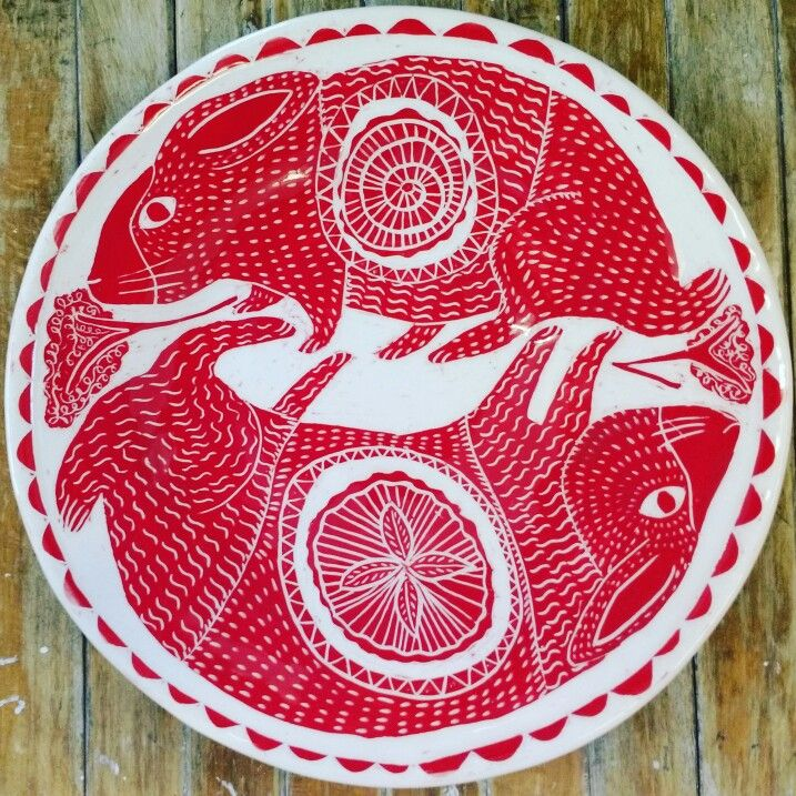 Www.vickylindo.co.uk .The Pigeon  Club Pottery. Rabbits with puddings in their bellies. Earthenware sgraffito plate.
