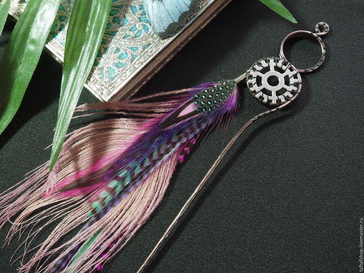 Шпилька для волос, с перьями - Нежная роза, розовый, бирюзовый - перо, перья, перья в волосы