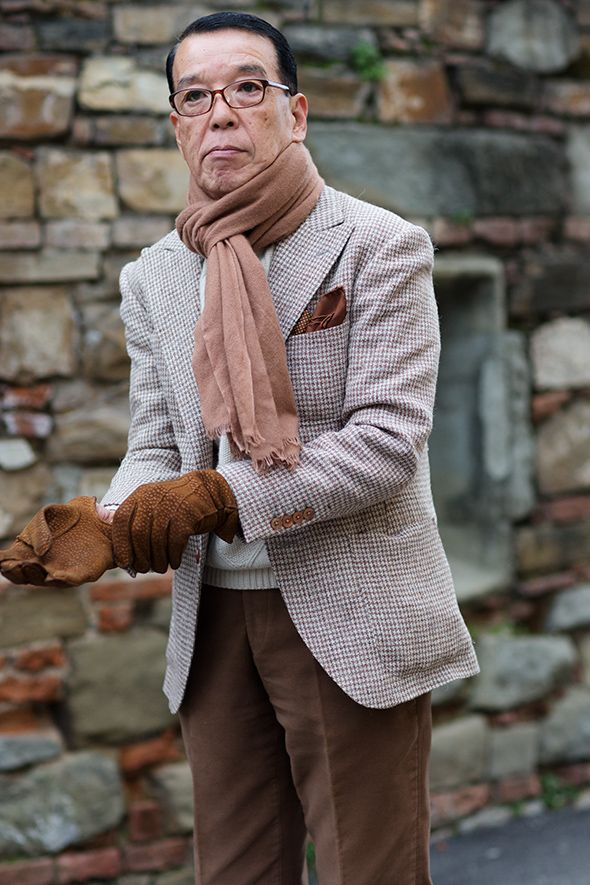 www.thesartorialist.com    This suit amazes at any age.  The pocket square is so chic, the scarf, the light elegantly patterned jacket.  Then there are the gloves.  This would look SO good in a fall/winter engagement shoot.