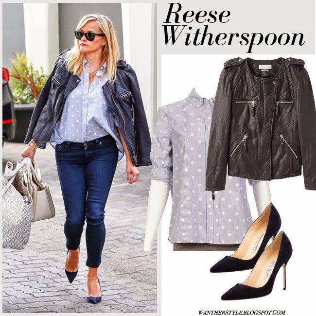 Reese Witherspoon in dark navy leather jacket, grey polka dot shirt, skinny jeans, cream tote and suede pumps #reesewitherspoon #fashion #streetstyle #outfit #spring #summer #chic #leather #jacket #polkadot