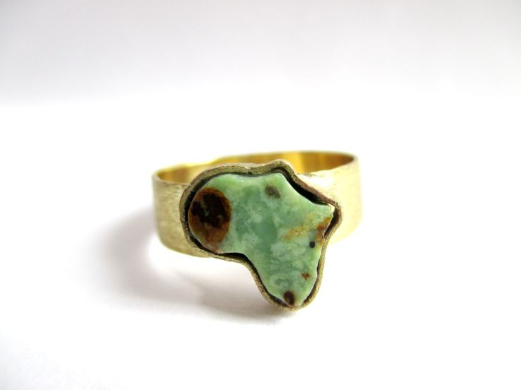 Brass Apple Turquoise Africa Ring by Picossa on Etsy