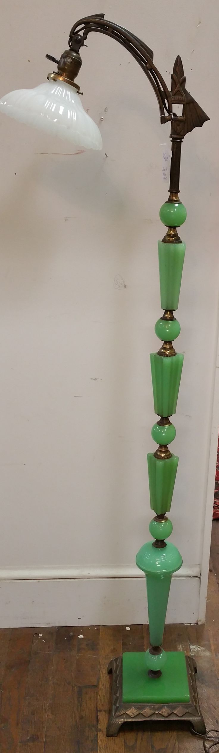 798 best images about jadeite disheslove love on for Depression glass floor lamp