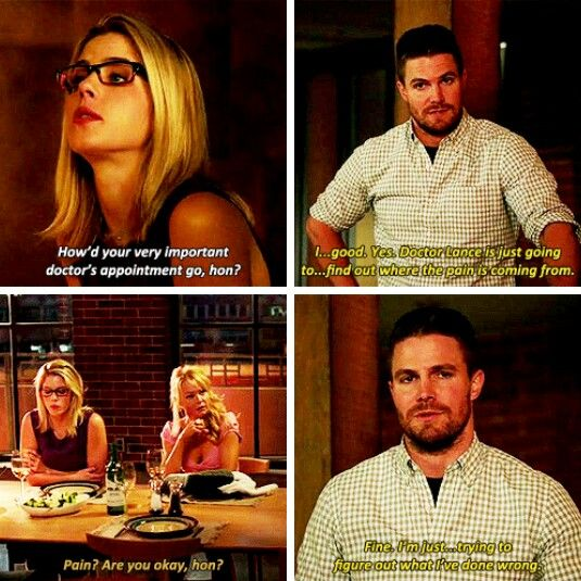 """I'm just... trying to figure out what I've done wrong"" - Oliver, Donna & Felicity #Arrow"