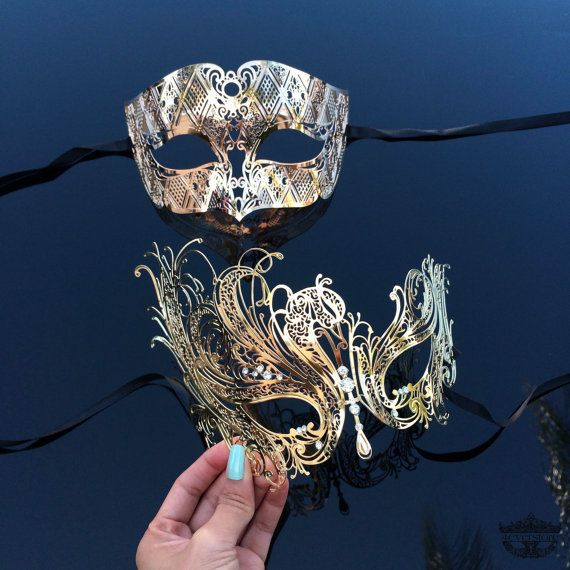 Couples Masquerade Mask, His & Hers Couples Masquerade Mask, Gold Masquerade Masks, Masquerade Ball Mask,…