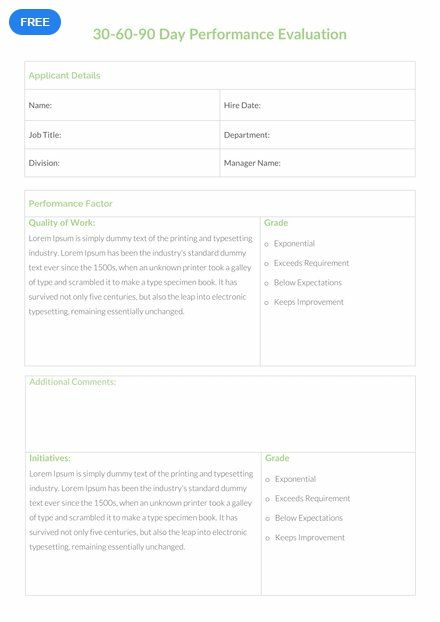 Make A 30 60 90 Day Preference Evaluation For An Employee Working In The Company This Template Is Easy To Edit And Fully Customizable All Versions Of MS