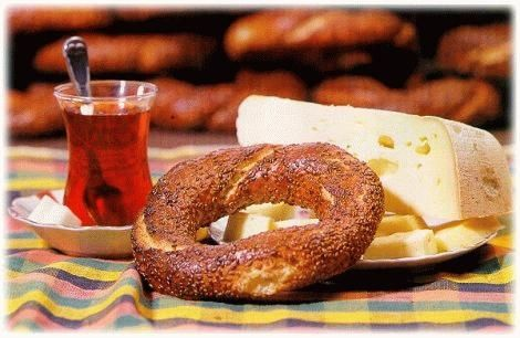 Turkish tea with simit is traditional in Turkish culture