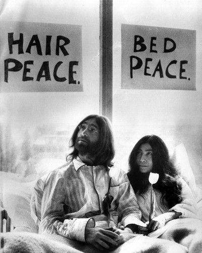 John Lennon Yoko Onno hair peace bed peace idealists activism