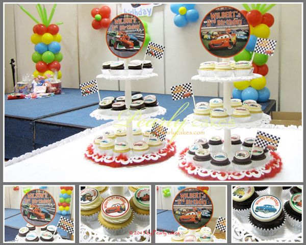 Cars Cupcakes on Tiers for Wilson & Wilbert by Pearlycakes.com