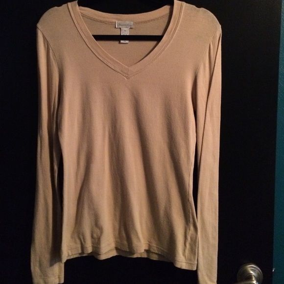 Charlotte Russe camel top Soft cotton v neck with stretch Charlotte Russe Tops Tees - Long Sleeve