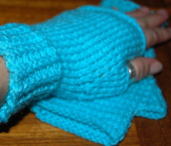 Fingerless mittens hand knit upcyled material by silverwireandgems
