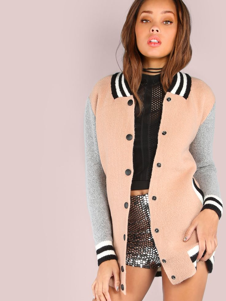 "We're taking it back with this vintage inspired wear. Featuring a cross between a varsity knit sweater and a bomber jacket with stretchy knit material, contrasting colorblock effect, solid black button closures and two side pockets. Jacket measures 29.5"" in. from top to bottom hem. Pair a crop top and high waisted skinnies. #pastel #MakeMeChic #style #fashion #newarrivals #fall16"