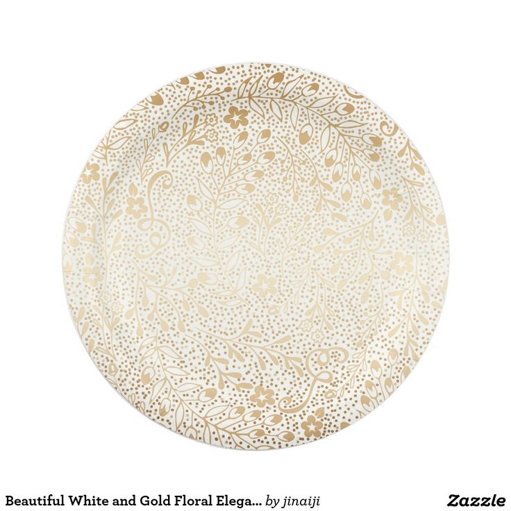 Beautiful White and Gold Floral Elegant Wedding Paper Plate Special vintage white and gold flowers pattern elegant wedding paper plates