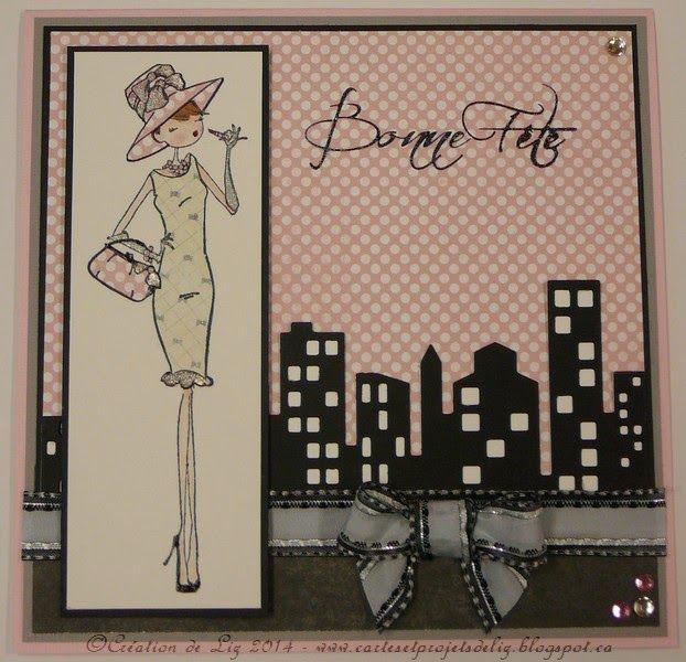 """Cartes artisanales et autres projets artistiques de Liz: Une carte d'anniversaire pour une vraie """"fille de ville""""!"""
