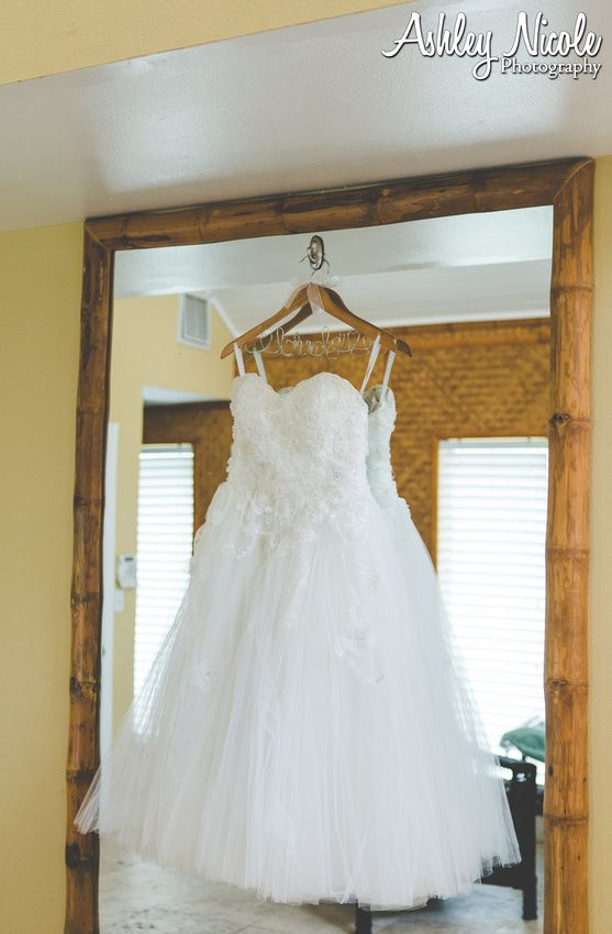 Traditional Wedding Details- Bridal gown with personalized hanger