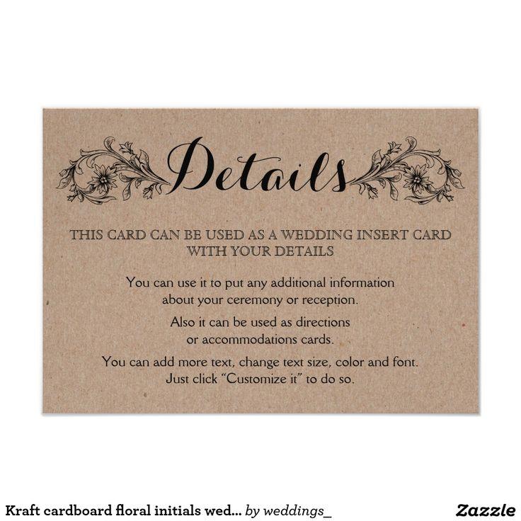 Kraft cardboard floral initials wedding details insert card