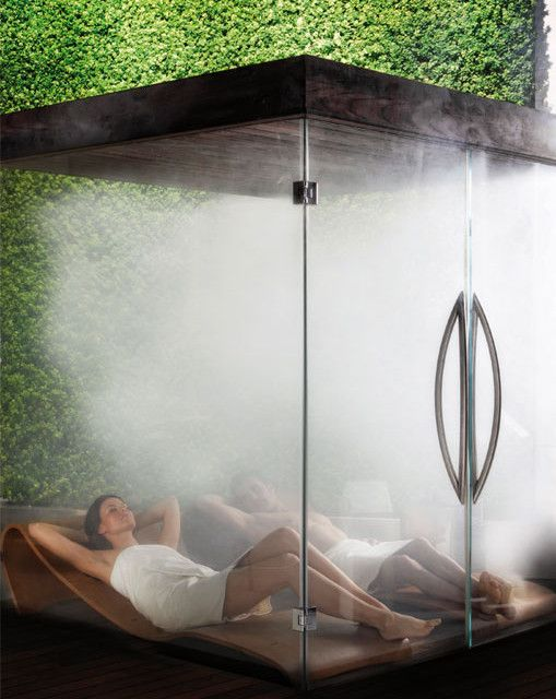 Glass sauna with teak recliners, www.hometro.com