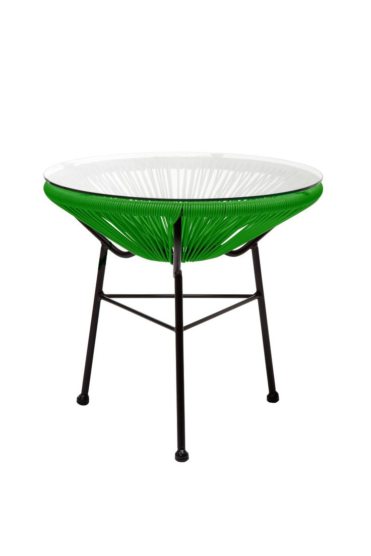 Replica Acapulco Side Table -- The Acapulco range was first manufactured in Mexico in the 1950's. The replica Acapulco side table is a perfect match for your Acapulco chairs on the deck, under the pergola or around the pool.  Our replica Acapulco side tables are constructed from plastic UV resistant cane with a tempered glass table top. These retro side tables are available in an aqua blue and yellow combination, black, green, white or grey. Matching dining chairs are also available…