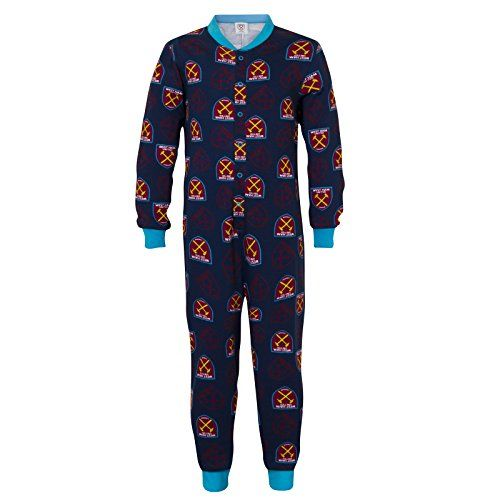 From 9.99 West Ham United Fc Official Gift Boys Kids Pyjama All-in-one Navy 11-12 Years