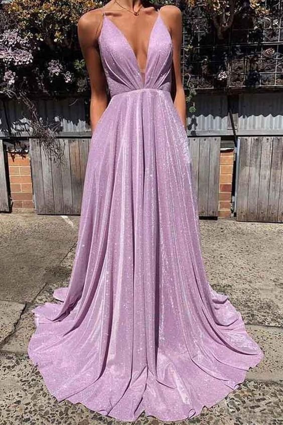 Sexy deep v-neck backless prom dresses sparkle long prom dresses