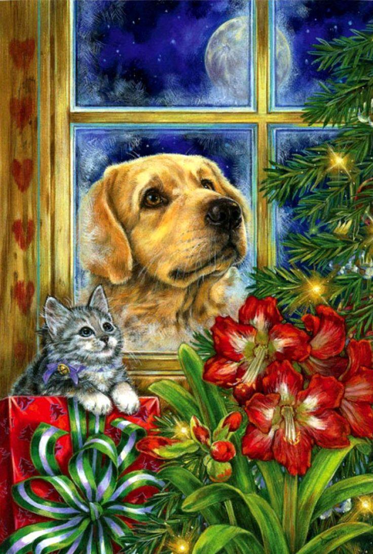 Днем, открытки с собаками новый год