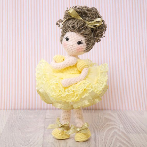 FREE SHIPPING Amigurumi crochet doll - Gorgeous ballerina doll in a yellow tutu edged with lace and gold ribbon