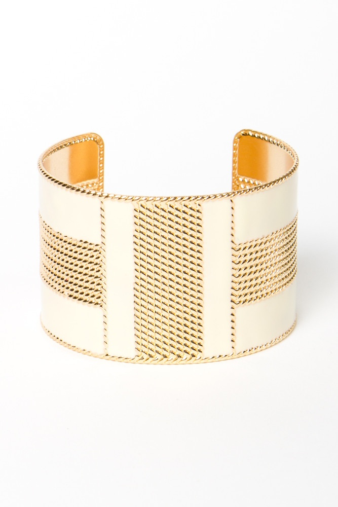 Cream and Gold Enamel Cuff