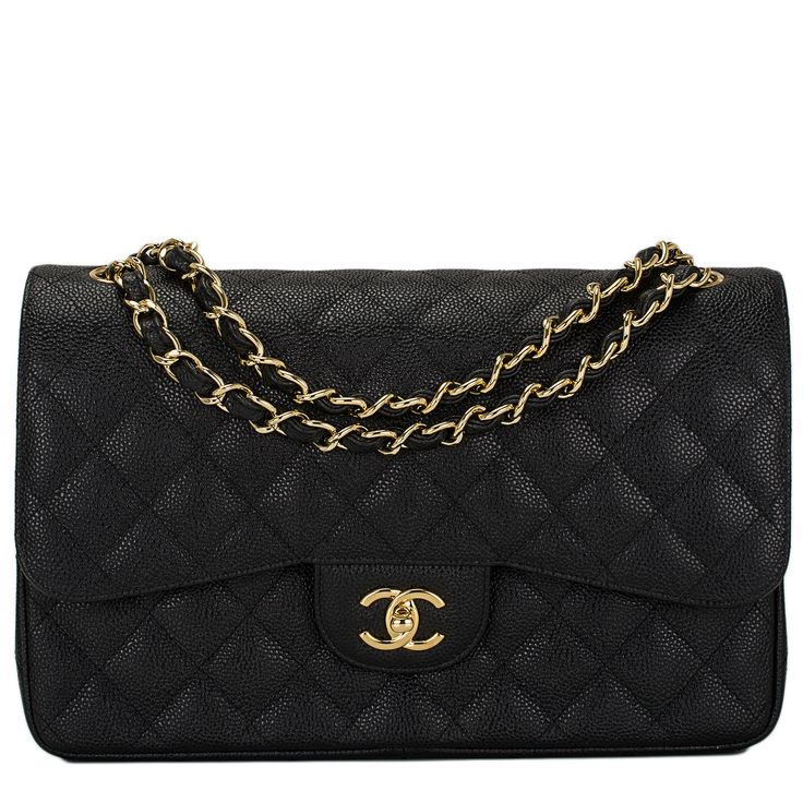 Chanel Black Quilted Caviar Jumbo Classic Double Flap Bag Gold Hardware #chanel