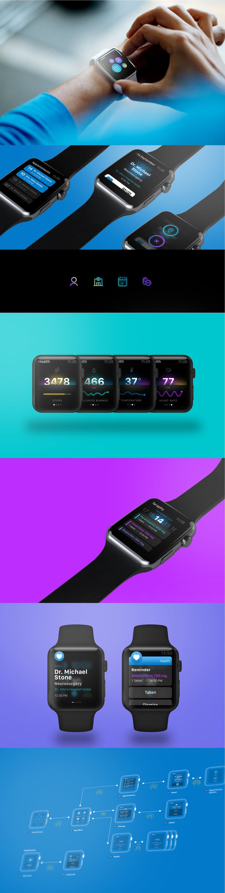 Health Apple Watch App https://www.behance.net/gallery/28845679/Health-Apple-Watch-App-Concept? #ux #ui