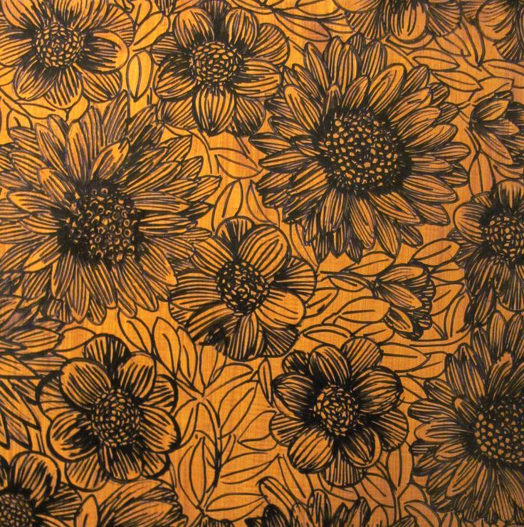 """Honeyglow"" Crown lynn pattern -  painting by Katherine Claypole 2016 acrylic on board"