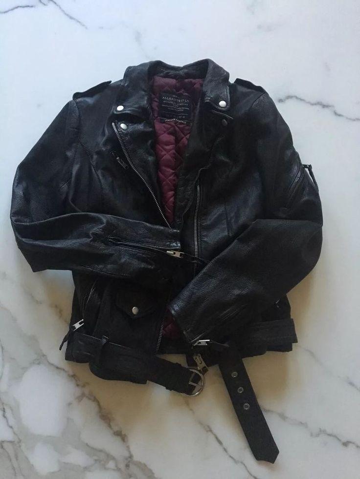 AllSaints Jacket Black Leather Biker Moto Motorcycle US 6 Belted #AllSaints #Motorcycle