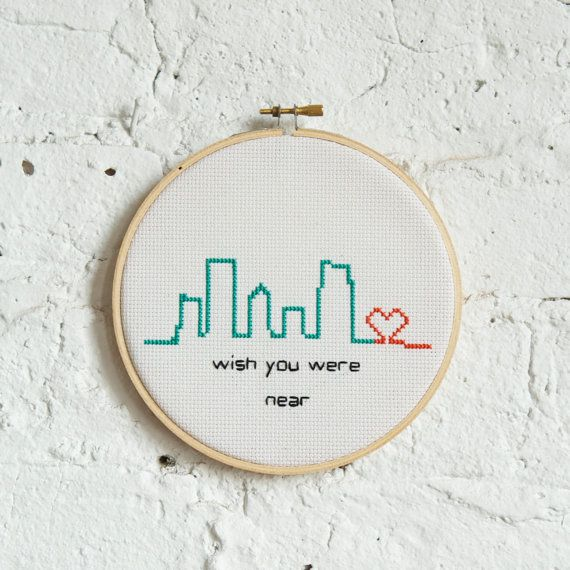 wish you were near Modern Cross Stitch City Skyline by RugglesMade, $35.00