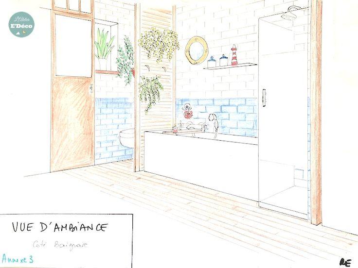 Salle de bain bleue et blanche