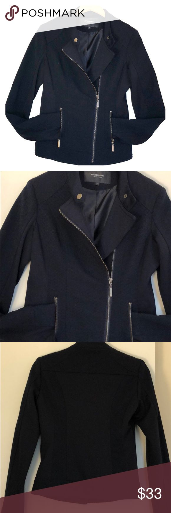 MANGUUN collection moto jacket Like new condition beautiful navy blue with some stretch Moto jacket. manguun Jackets & Coats